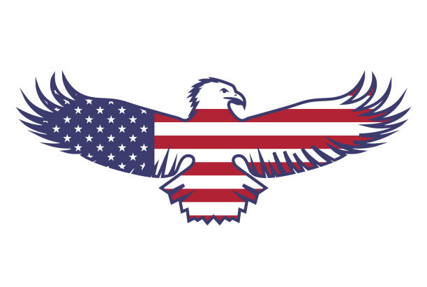 Flag of the USA with an eagle vector art illustration