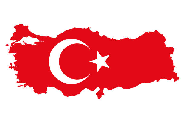 Flag of Turkey, al bayrak, in country silhouette vector art illustration