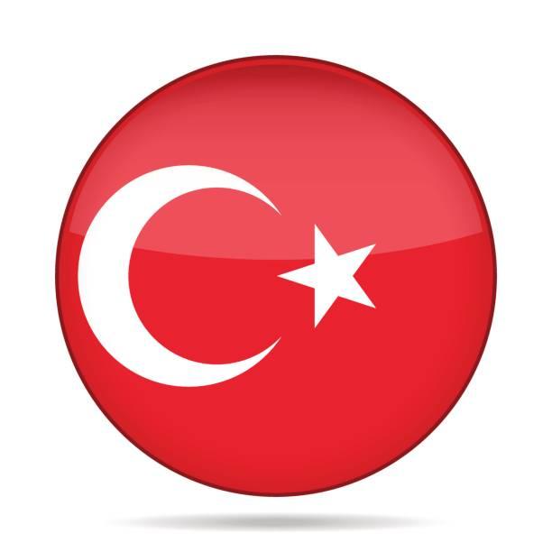 ilustraciones, imágenes clip art, dibujos animados e iconos de stock de bandera de la turquía. botón redondo brillante. - mapa de oriente medio