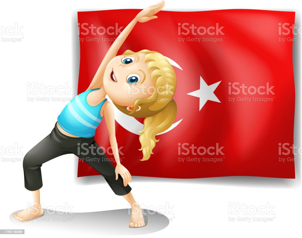 Flag of Turkey with a girl exercising royalty-free stock vector art