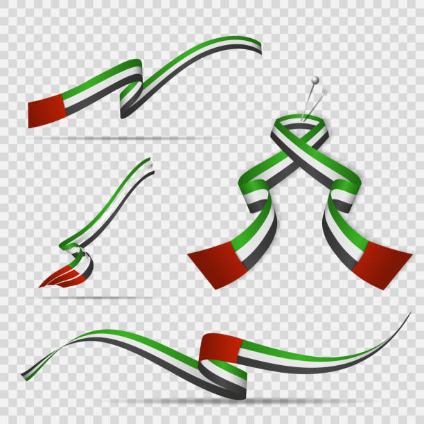 flaga zjednoczonych emiratów arabskich. 2 grudnia. zestaw realistycznych falistych wstążek w kolorach flagi zea na przezroczystym tle. dzień niepodległości. symbol narodowych emiratów. ilustracja wektorowa. - uae flag stock illustrations