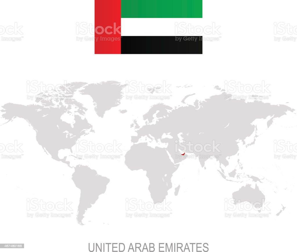 Flag of united arab emirates and designation on world map stock flag of united arab emirates and designation on world map royalty free stock vector art gumiabroncs Images