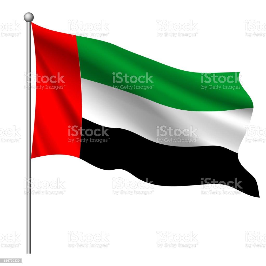 阿拉伯聯合大公國國旗, 向量插圖。 - 免版稅中央部分圖庫向量圖形