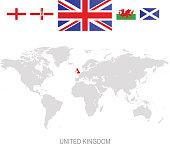 Flag of United Kingdom and designation on World map