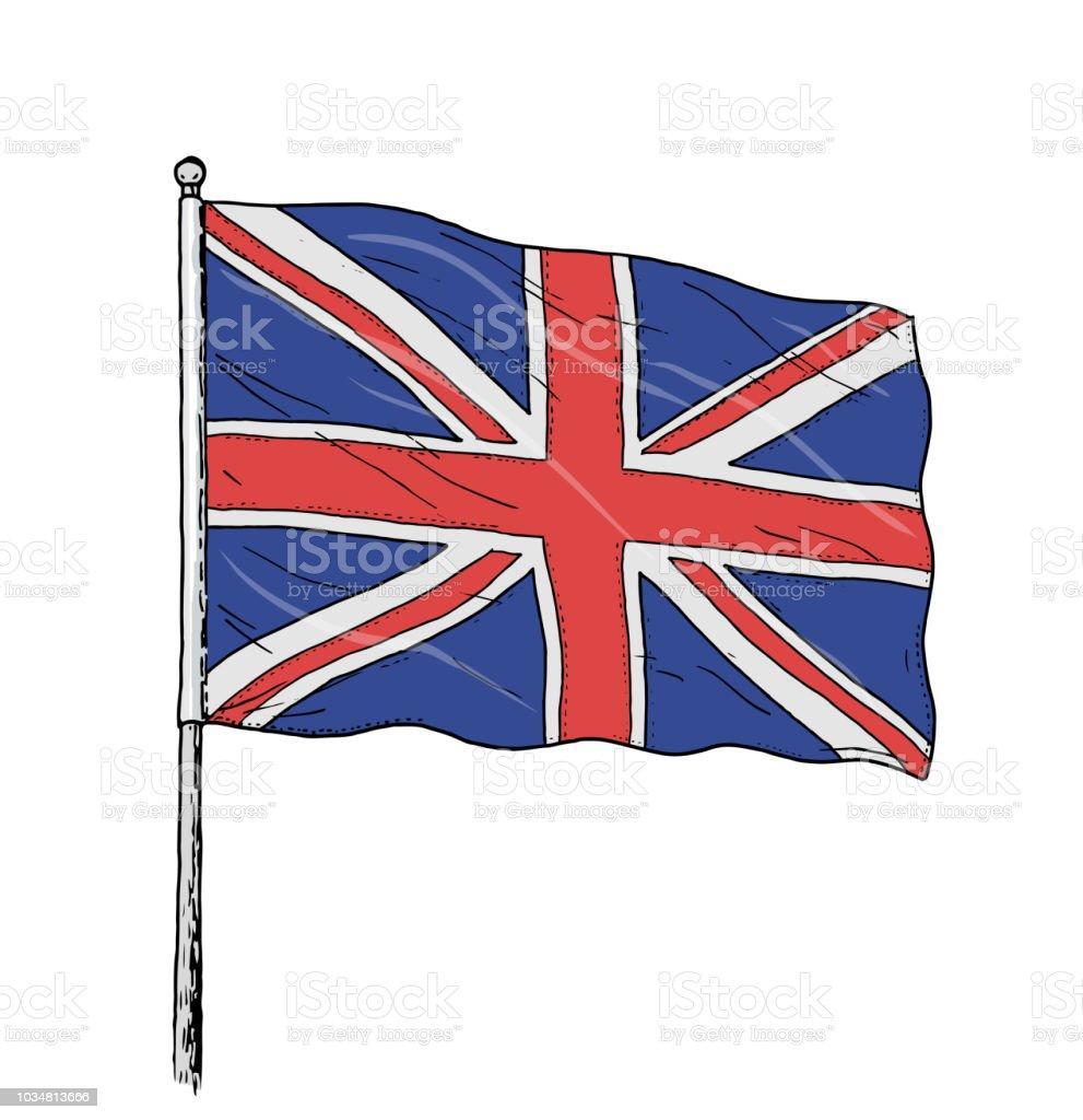 Ilustración De Bandera Del Reino Unido De Color Dibujo Vintage Como