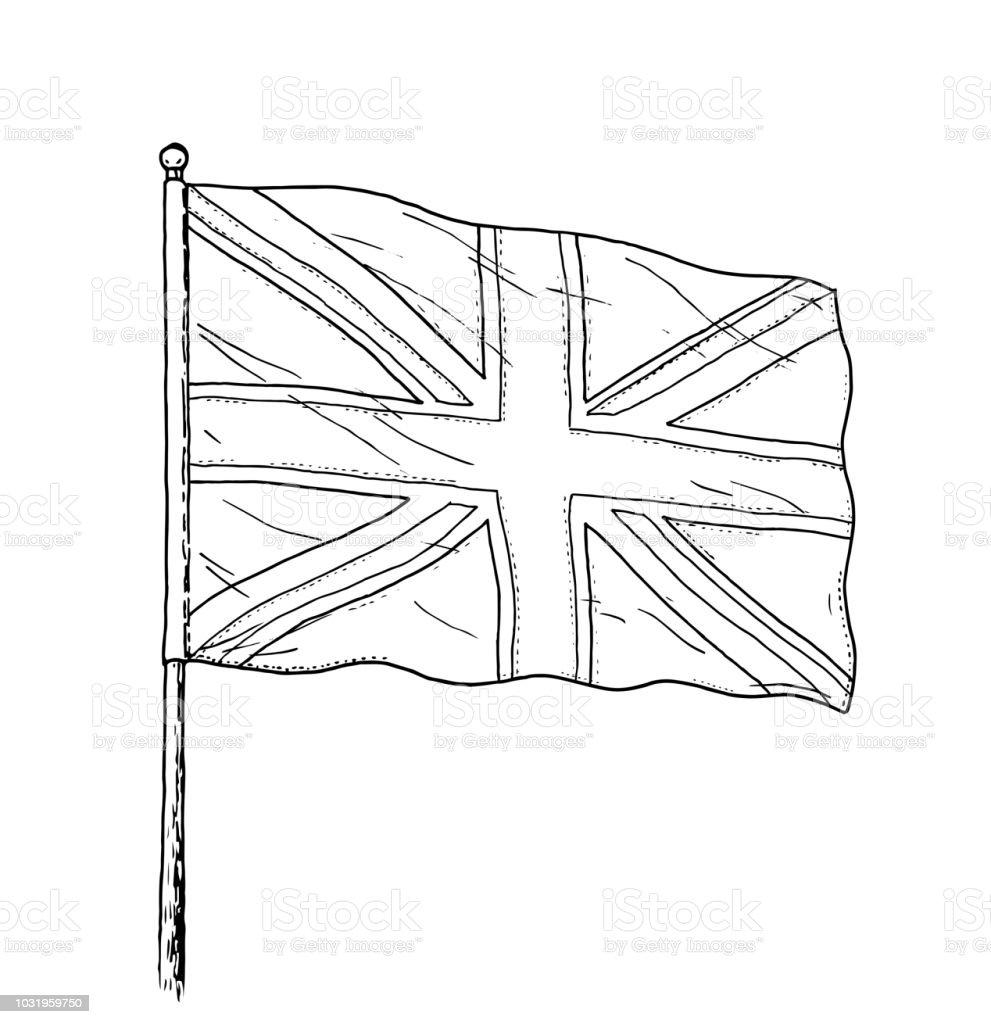 Ilustración De Bandera Del Reino Unido Dibujo Vintage Como