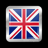 Flag of United Kingdom. Metal Icons