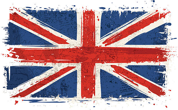 flag of united kingdom on wall - union jack flag stock illustrations, clip art, cartoons, & icons