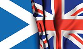 Flag of United Kingdom over the scotland flag.