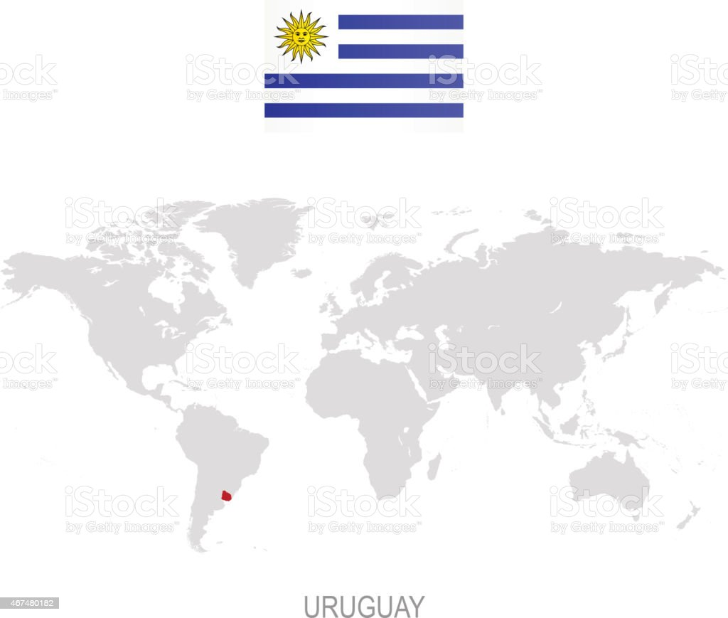 Flag Of Uruguay And Designation On World Map Stock Vector Art More