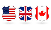 Flag of US, Canada and UK in the shape of a police badge. American, Canadian and  British national symbol. Vector illustration.