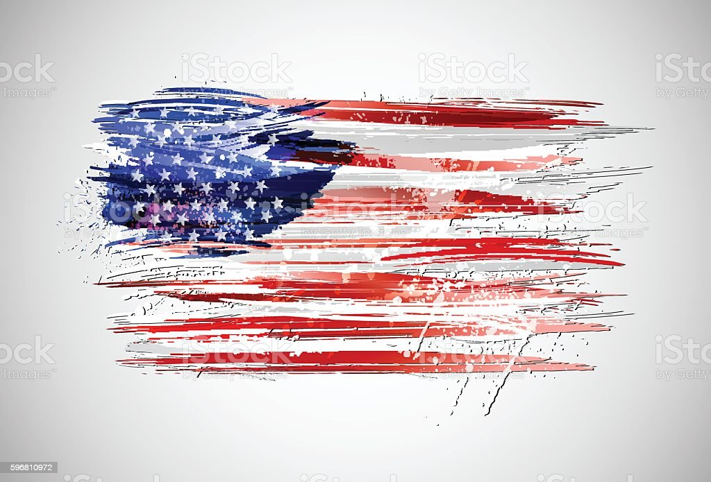 Flag of USA made with colorful splashes vector art illustration