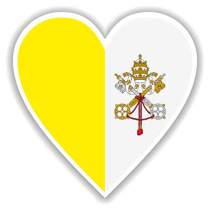 Flag of Vatican in heart with shadow and white outline