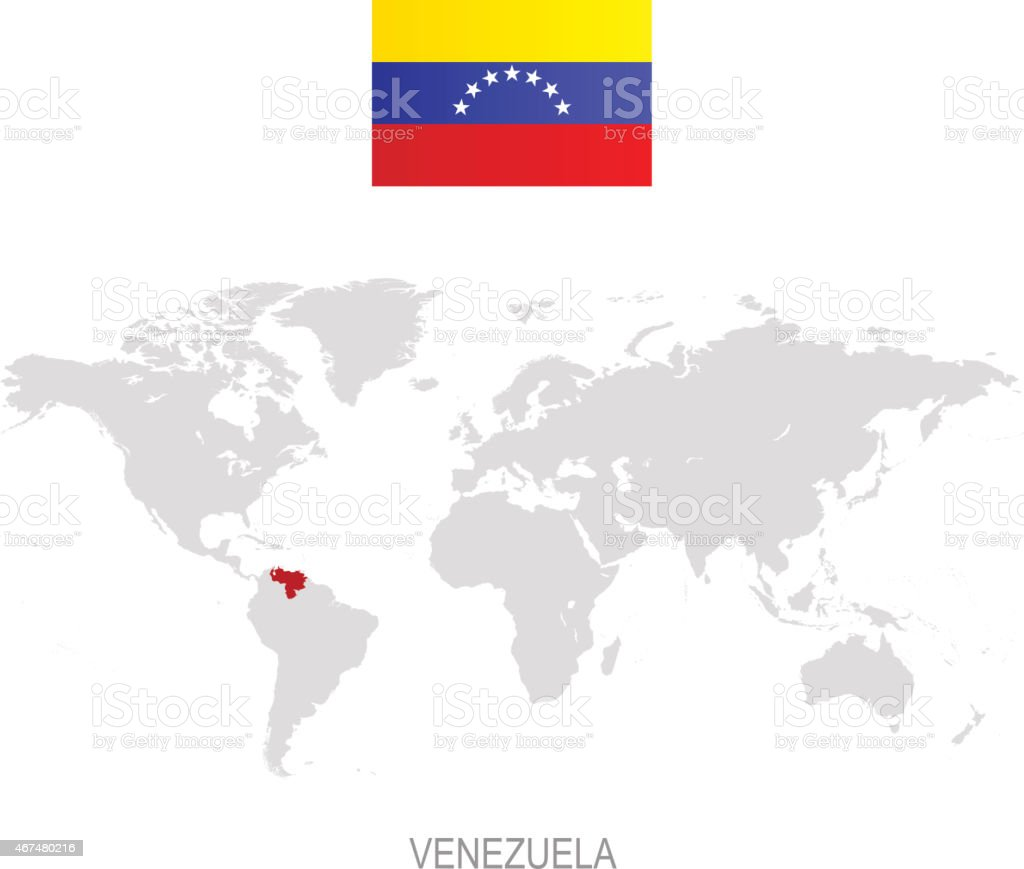 Flag Of Venezuela And Designation On World Map Stock Vector Art ...