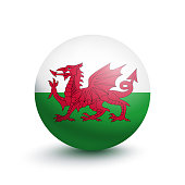 Flag of Wales in the form of a ball isolated on white background. Vector illustration