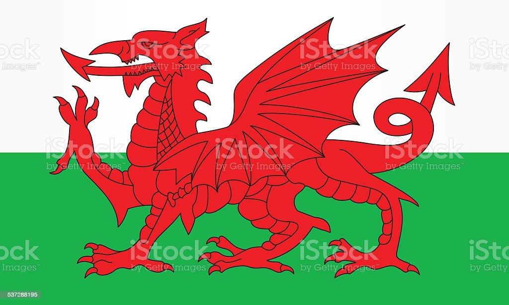 Flag of Wales vector art illustration
