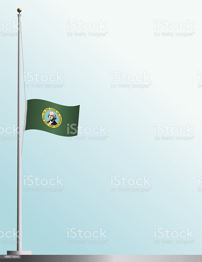 Flag of Washington State at Half-Staff royalty-free flag of washington state at halfstaff stock vector art & more images of backgrounds