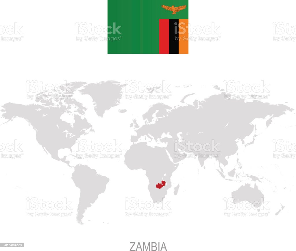 Flag Of Zambia And Designation On World Map Stock ...