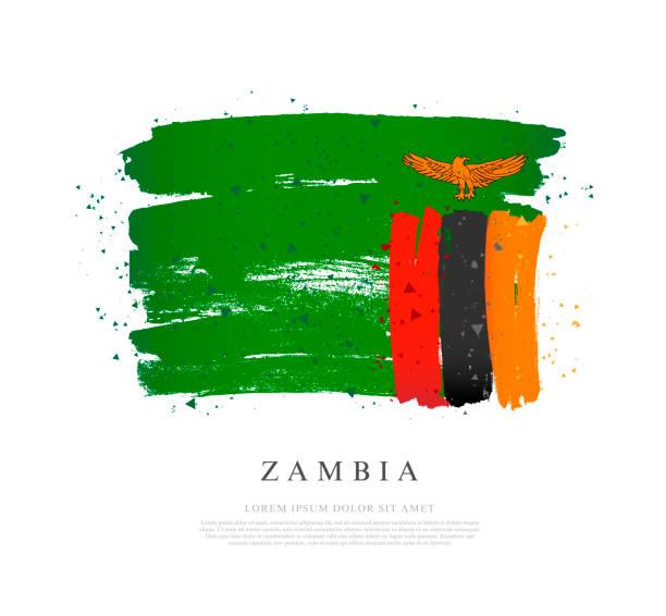 Flagge von Sambia. Vektor-Illustration auf weißem Hintergrund. – Vektorgrafik