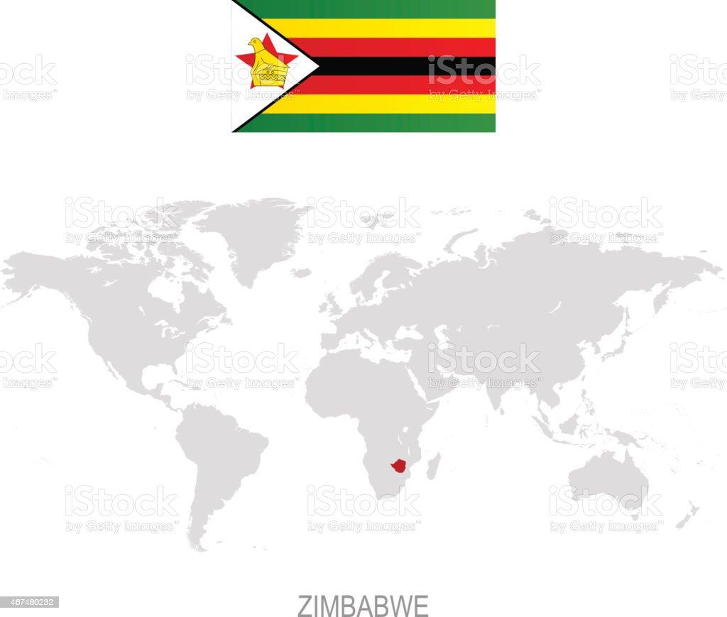 Flag Of Zimbabwe And Designation On World Map Stock Vector Art ... Zimbabwe On A World Map on spain on world map, mali on world map, myanmar on world map, angola on world map, gabon world map, argentina on world map, siberia on world map, ghana world map, jericho on world map, great zimbabwe on world map, somalia on world map, guatemala on world map, madagascar on world map, paris world map, france on world map, java on world map, zimbabwe on a map of africa, zimbabwe on a regional map, sudan on world map, zimbabwe on african map,