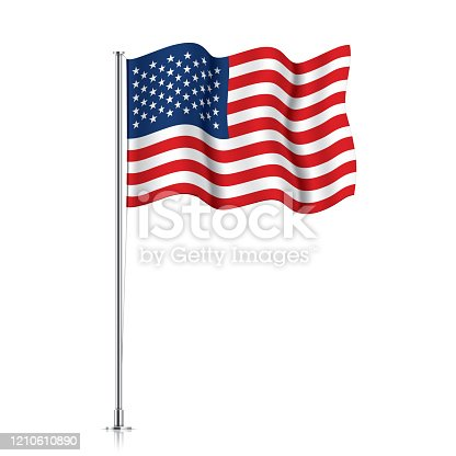 USA flag on a metallic pole. Official flag of the United States of America, isolated on a white background. Waving US flag hanging on a pillar. Vector illustration.