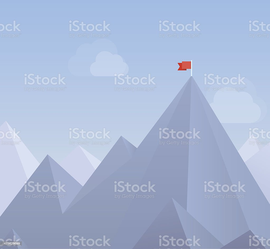 Flag on a mountain peak flat illustration royalty-free stock vector art