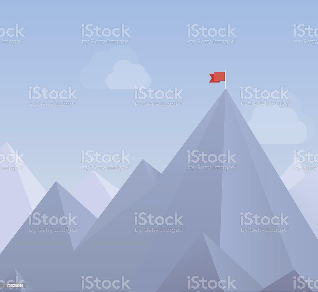 Flag on a mountain peak flat illustration vector art illustration