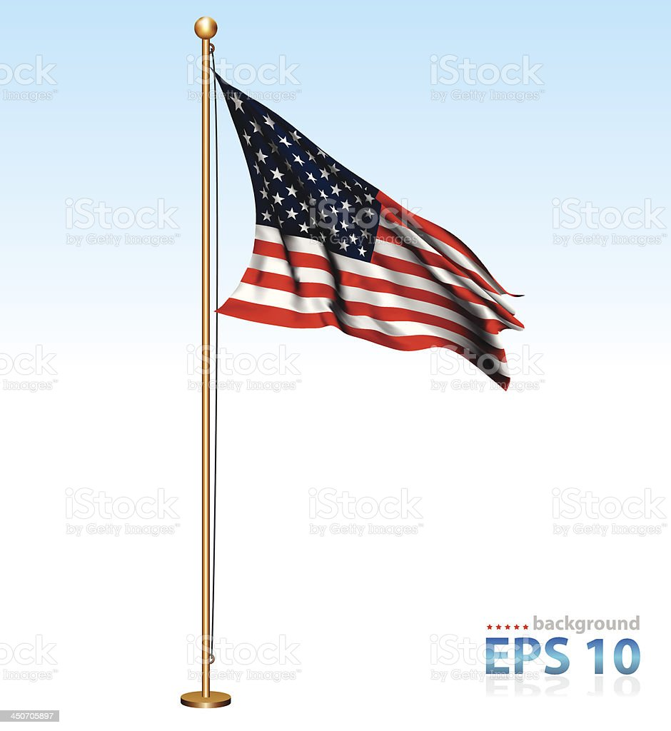 USA flag on flagpole vector art illustration