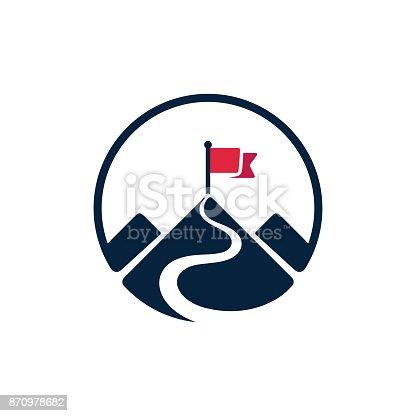 istock Flag on mountain top icon 870978682