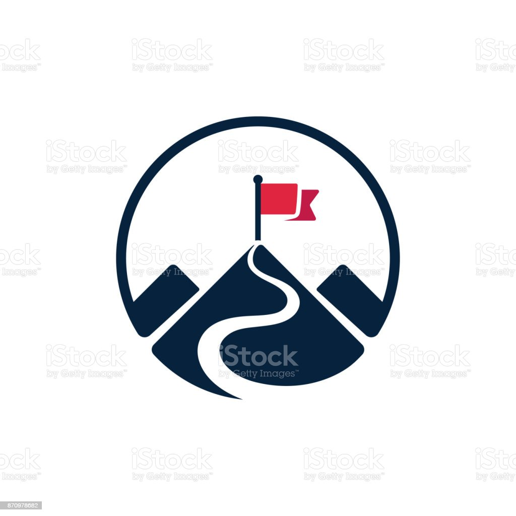 Flag on mountain top icon vector art illustration