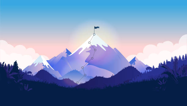 Flag on mountain top. Majestic mountain with trail to the top in a beautiful landscape Metaphor for great business challenge to overcome before success and reach your goals. Vector illustration. mountain top stock illustrations