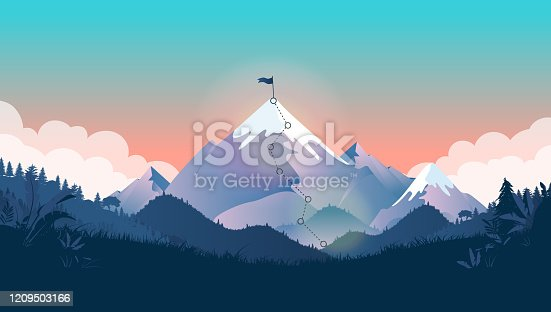 istock Flag on mountain top 1209503166