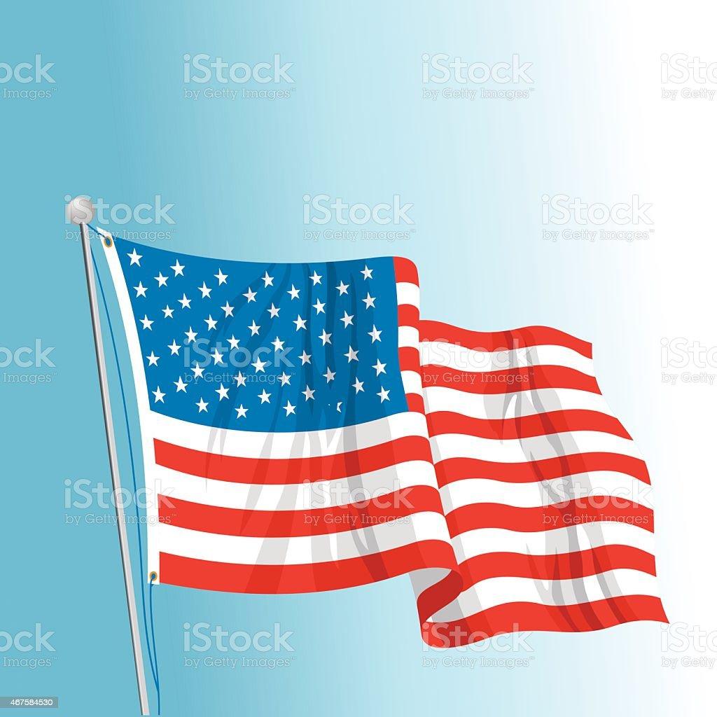 US Flag on Pole vector art illustration