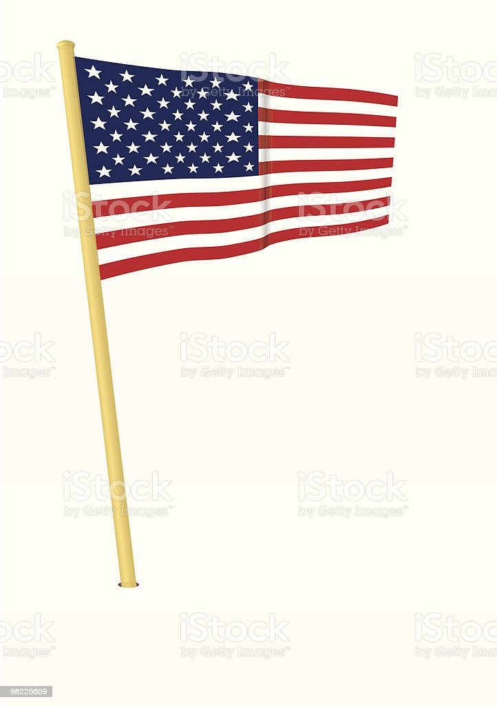 USA Flag on pole (Vector Illustration) royalty-free usa flag on pole stock vector art & more images of american flag