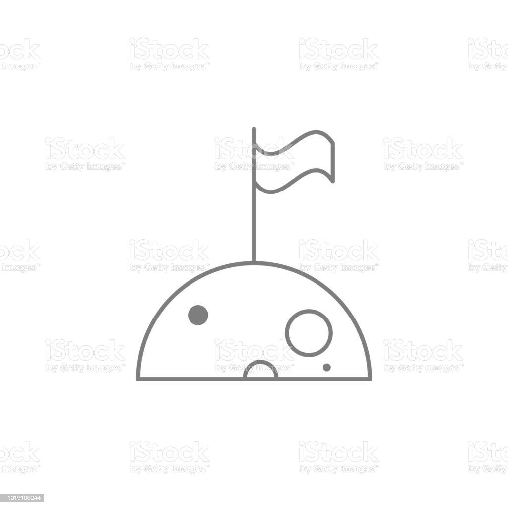 Flag On The Moon Icon Web Element Premium Quality Graphic Design