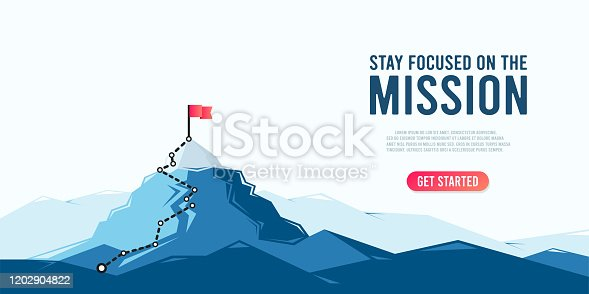 istock Flag on the mountain peak. Business concept of goal achievement or success. Flat style vector illustration 1202904822