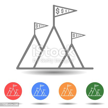 Flag on the mountain peak, business success vector icon