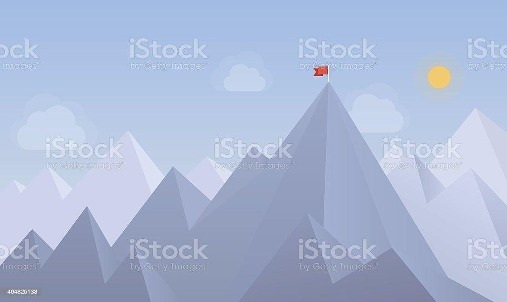 Flag on the peak illustration vector art illustration