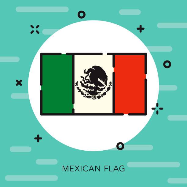 ilustraciones, imágenes clip art, dibujos animados e iconos de stock de bandera icono de cinco de mayo de contorno abierto - bandera mexicana