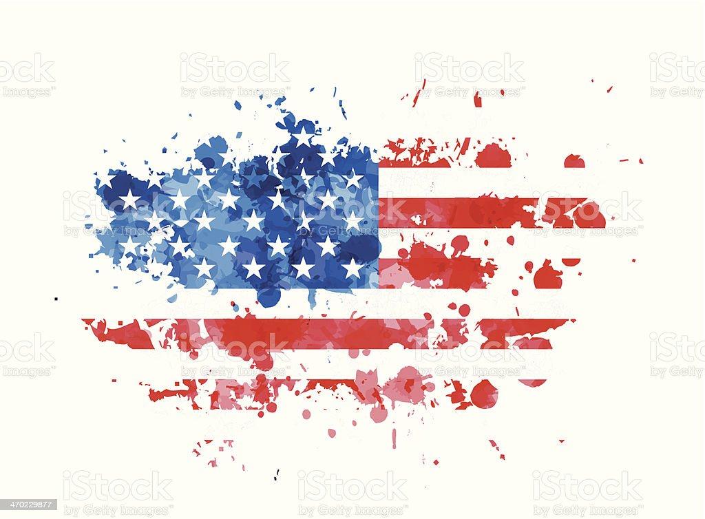 USA flag over grunge splash vector art illustration