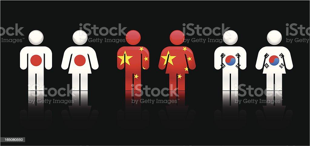 Bandeira pessoas para a Ásia central eléctrica Unidas - ilustração de arte em vetor