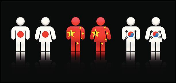 ilustrações, clipart, desenhos animados e ícones de bandeira pessoas para a ásia central eléctrica unidas - bandeira da coreia