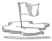 Flag Piece Of Land Symbol Drawing