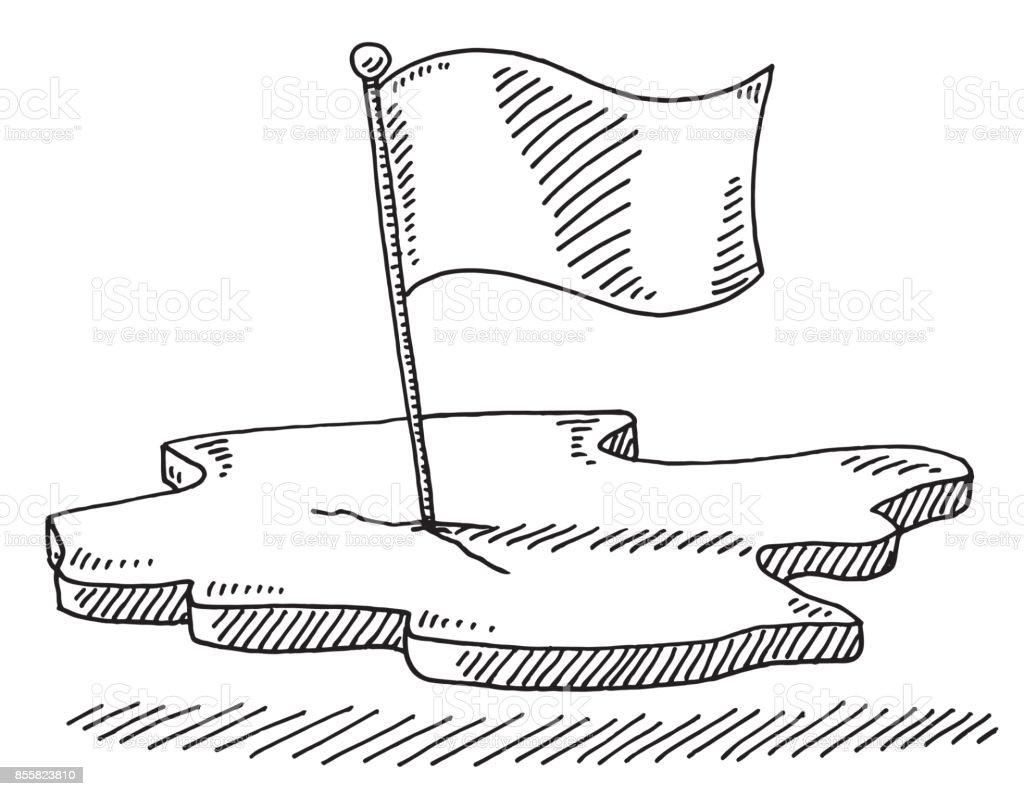 Flag Piece Of Land Symbol Drawing vector art illustration