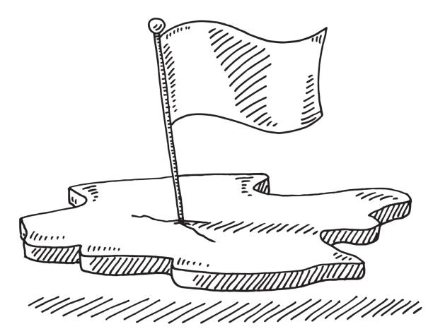 Flag Piece Of Land Symbol Drawing Hand-drawn vector drawing of a Flag on a Piece Of Land Symbol. Black-and-White sketch on a transparent background (.eps-file). Included files are EPS (v10) and Hi-Res JPG. national flag illustrations stock illustrations