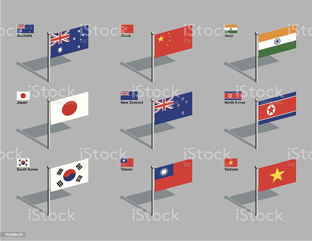 Flag Pins - Asia, Pacific vector art illustration