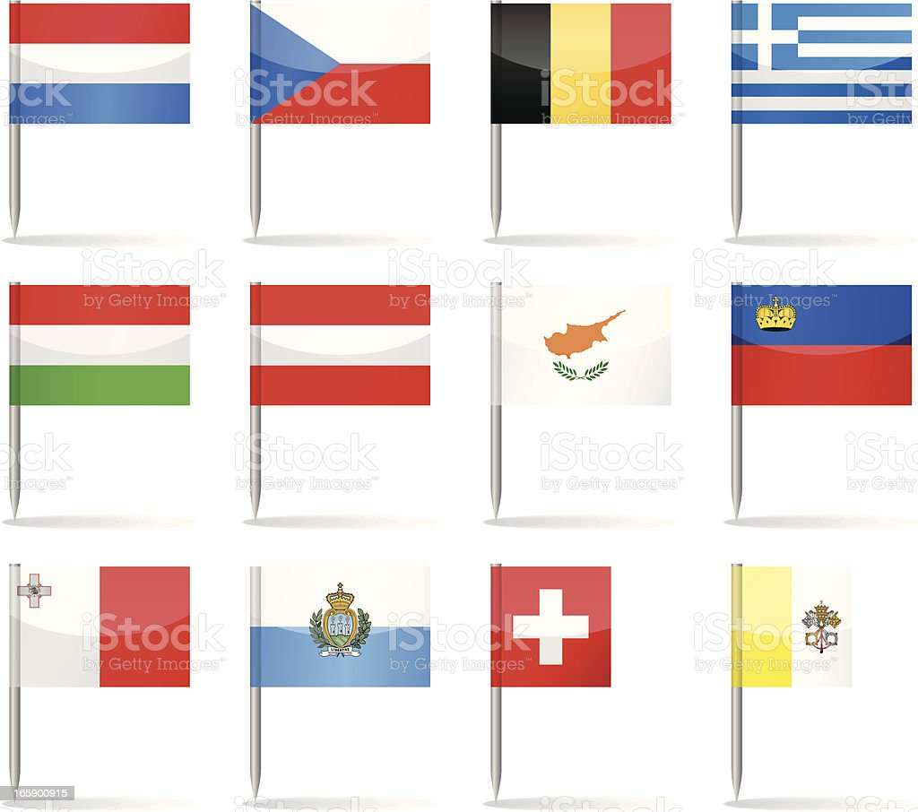 Flag pins - Europe royalty-free flag pins europe stock vector art & more images of austria