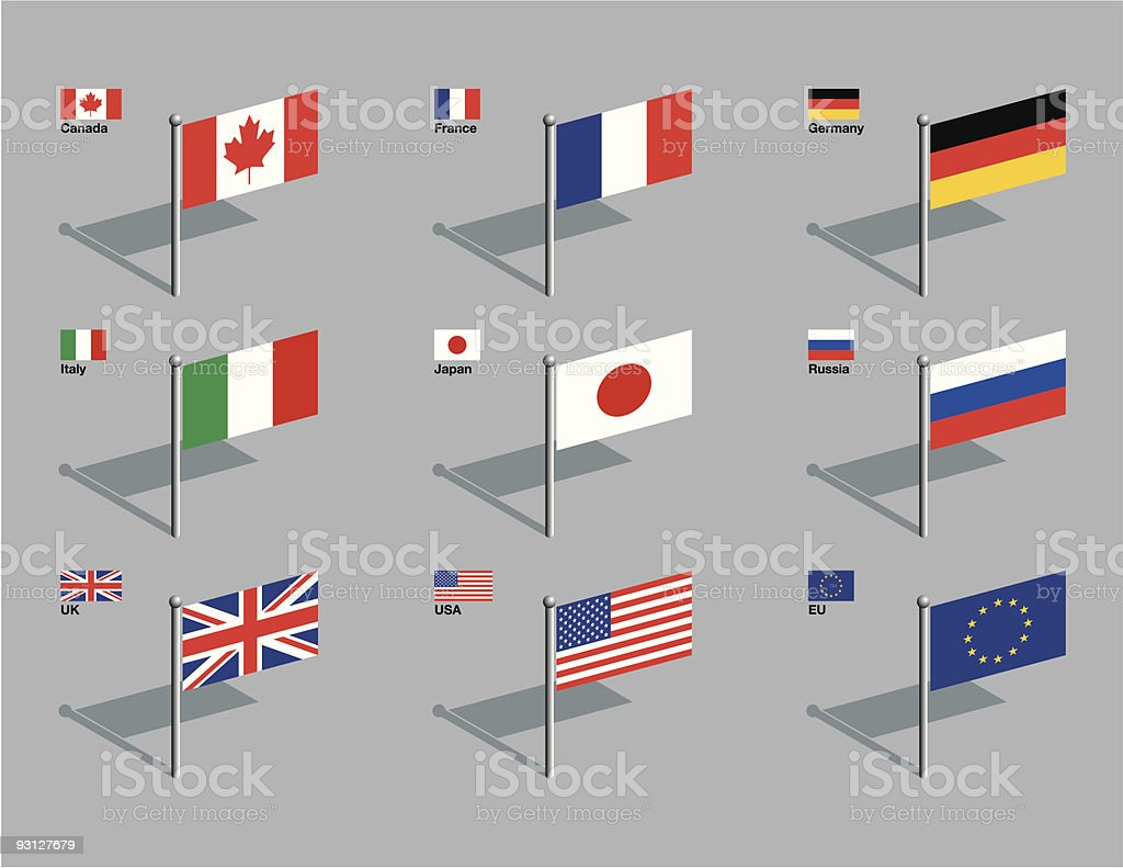 Flag Pins - G8 vector art illustration