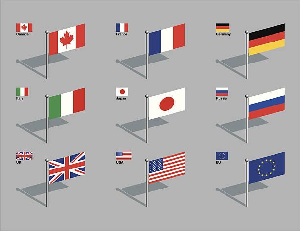 flagge-pins-g8 - flagge japan stock-grafiken, -clipart, -cartoons und -symbole