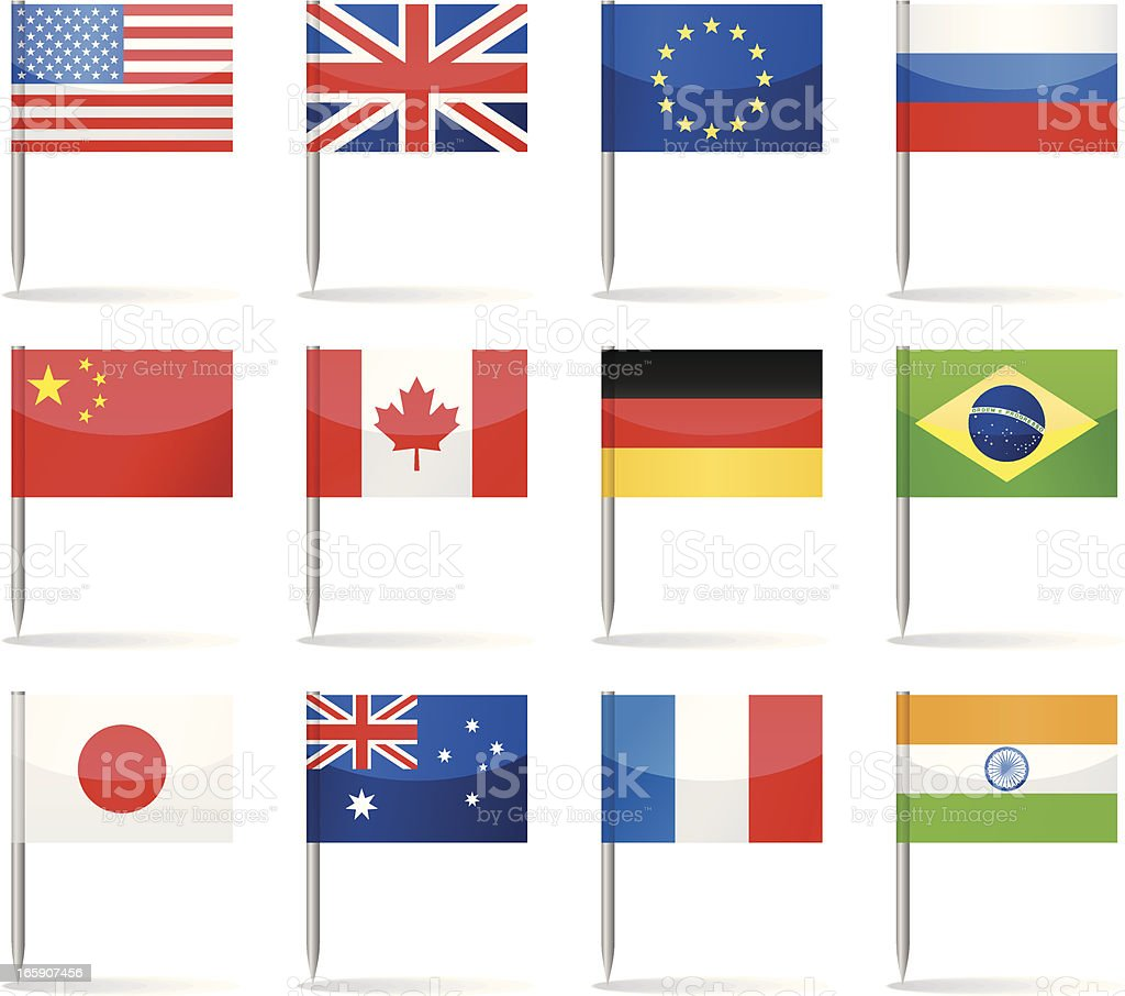 Flag pins - most popular royalty-free stock vector art